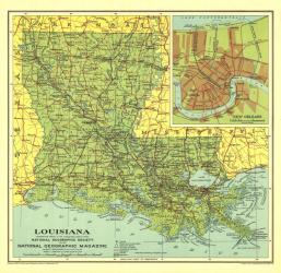 1930 Louisiana Map by National Geographic Maps