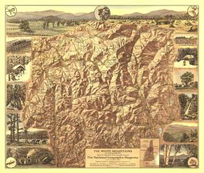 1937 White Mountains of New Hampshire Map by National Geographic Maps