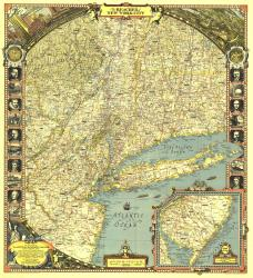 1939 Reaches of New York City Map by National Geographic Maps