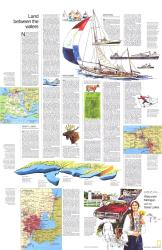 1973 Close-up USA, Wisconsin, Michigan, and the Great Lakes Map, Land Between the Waters Theme by National Geographic Maps