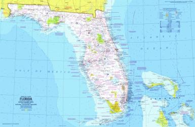 1973 Close-up USA, Florida Map by National Geographic Maps