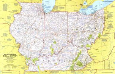 1977 Close-up USA, Illinois, Indiana, Ohio, Kentucky by National Geographic Maps
