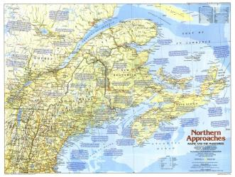 1985 Northern Approaches Maine to the Maritimes Map by National Geographic Maps