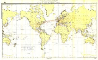 1896 Submarine Cables of the World Map by National Geographic Maps