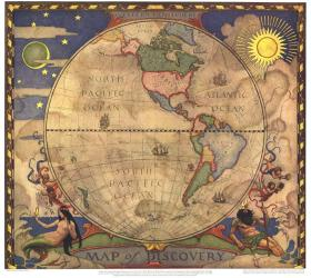 1928 Map of Discovery, Western Hemisphere by National Geographic Maps
