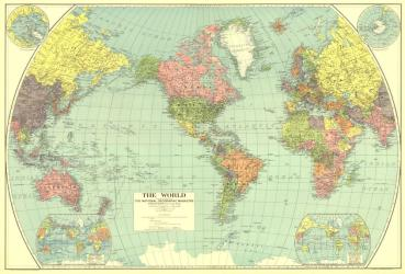 1932 World Map by National Geographic Maps
