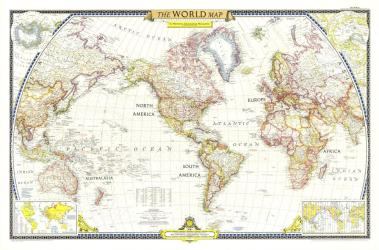 1951 World Map by National Geographic Maps