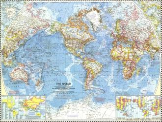 1960 World Map by National Geographic Maps