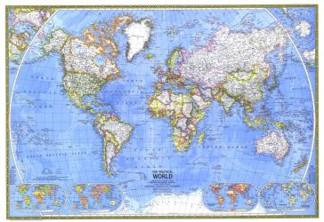 1975 Political World Map by National Geographic Maps