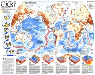 1985 Earths Dynamic Crust Map by National Geographic Maps