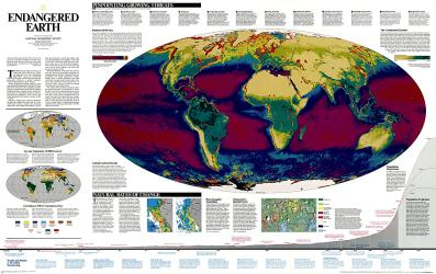 1997 Endangered Earth Map by National Geographic Maps