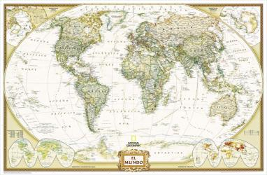2005 World Executive Spanish Map by National Geographic Maps