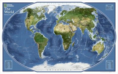 2011 World Explorer Satellite Map by National Geographic Maps