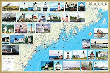 Maine Lighthouses Map - Laminated Poster by Bella Terra Publishing LLC