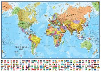 Political World Wall Map with Flags by Maps International Ltd.