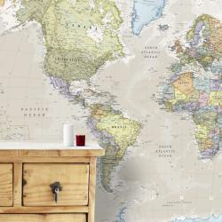 World, Political, Classic, Mural by Maps International Ltd.