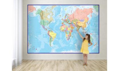 World Map with Blue Ocean, Mural by Maps International Ltd.
