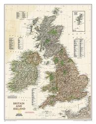 Britain and Ireland Executive Wall Map (23.5 x 30.25 inches) (Tubed) by National Geographic Maps