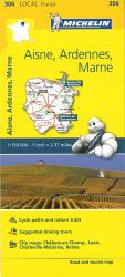 Aisne, Ardennes, Marne, France Road and Tourist Map by Michelin Travel Partner