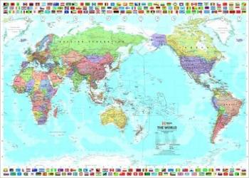 World and Flags, Pacific-Centered, Laminated by Hema Maps