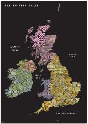 Graphic Map UK - counties, black background by Oxford Cartographers