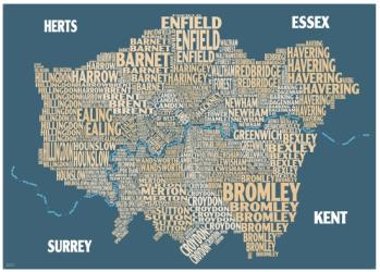 Graphic Map London - boroughs, beige background by Oxford Cartographers