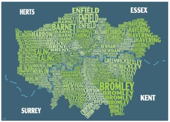 Graphic Map London - boroughs, green background by Oxford Cartographers