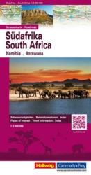 South Africa, Namibia, Botswana, Road Map by Hallwag