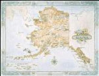 Alaska Antique-Style Map by One Treasure