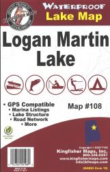 Logan Martin Waterproof Lake Map by Kingfisher Maps, Inc.