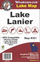 Lanier Waterproof Lake Map by Kingfisher Maps, Inc.