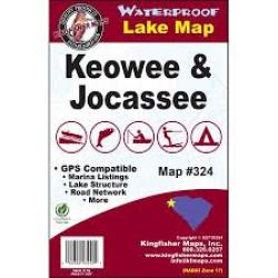 Keowee/Jocassee Waterproof Lake Map by Kingfisher Maps, Inc.