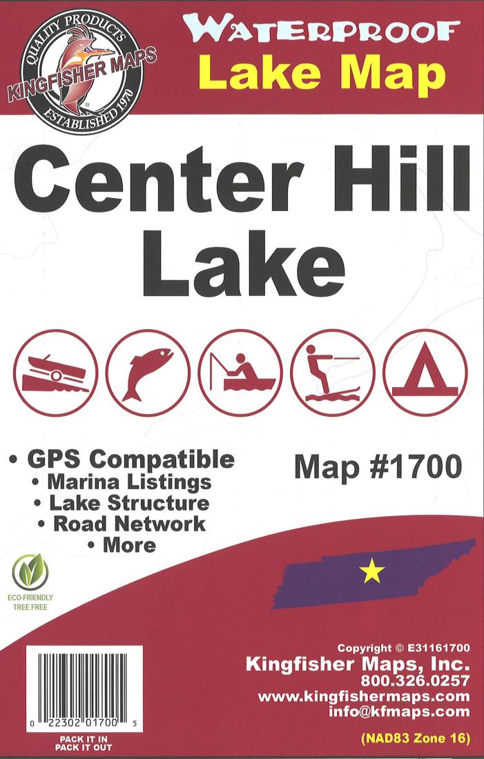Center Hill Waterproof Lake Map by Kingfisher Maps, Inc. on