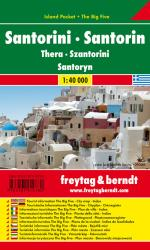 Santorini, Greece, Road and Leisure Map by Freytag, Berndt und Artaria