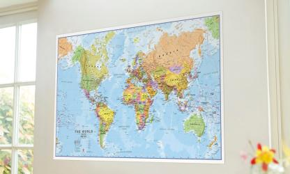 World Political Wall Map with Front Sheet Lamination by Maps International Ltd.