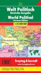 World, Political Wall Map, German edition by Freytag-Berndt und Artaria