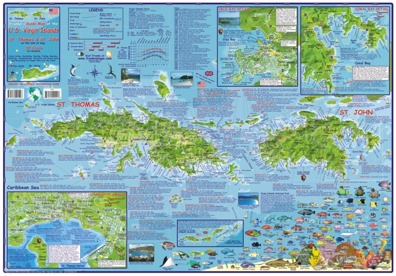 Caribbean Map US Virgin Islands Guide And Dive Laminated - Us map with virgin islands