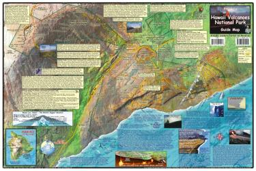 Hawaii Map, Hawaii Volcanoes, laminated, 2009 by Frankos Maps Ltd.