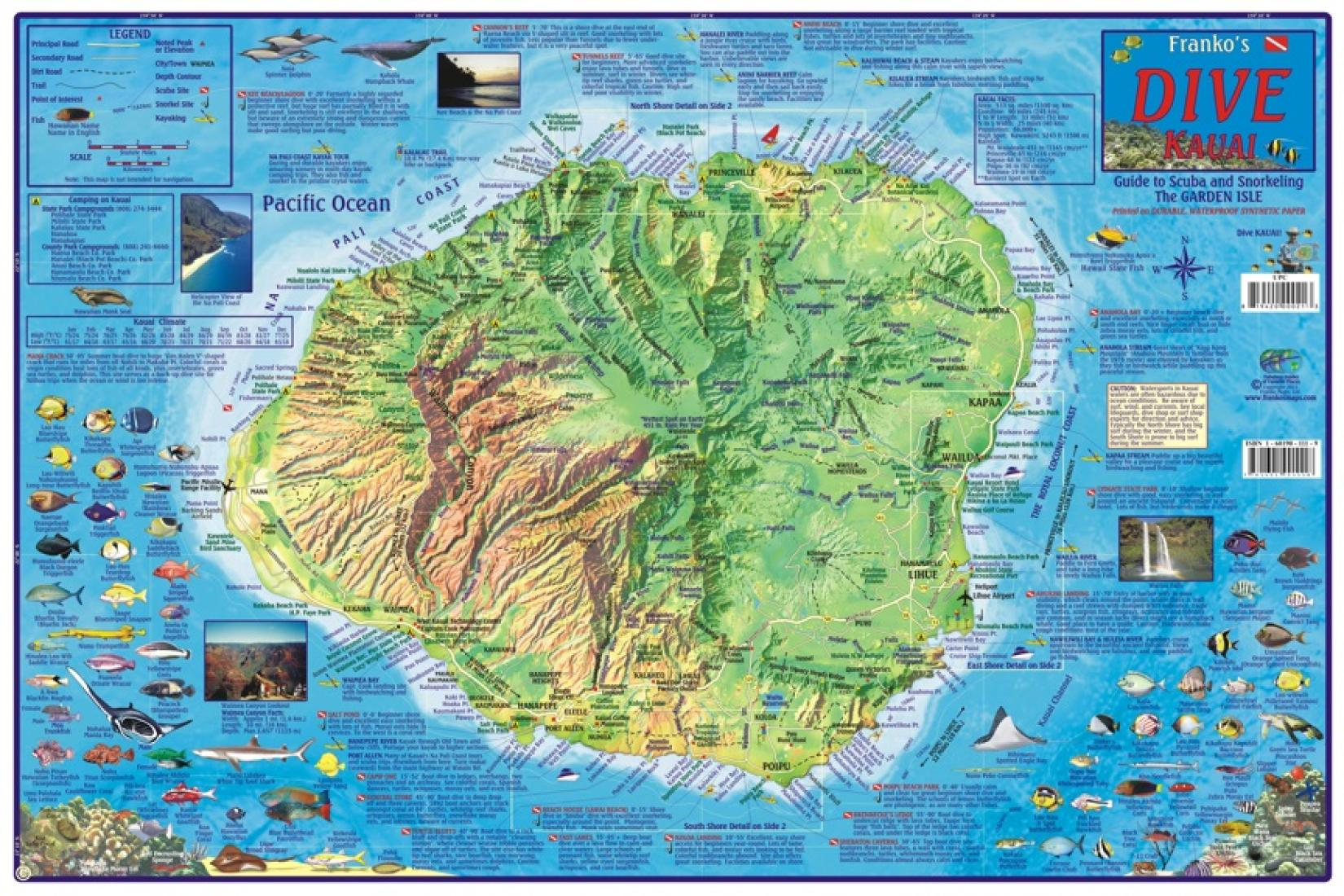 Hawaii Map Kauai Dive Map laminated 2011 by Frankos Maps Ltd