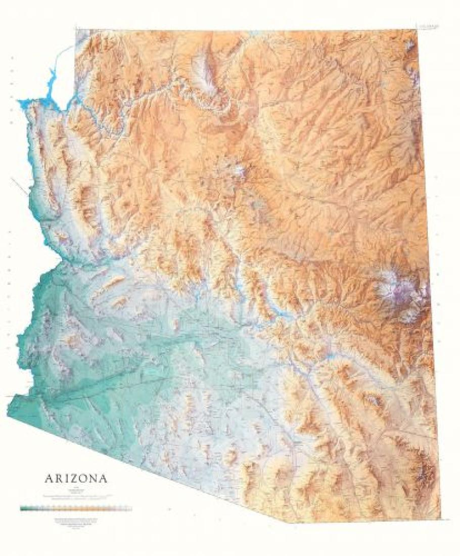 Map Of Arizona Detailed.Arizona Physical Wall Map By Raven Maps