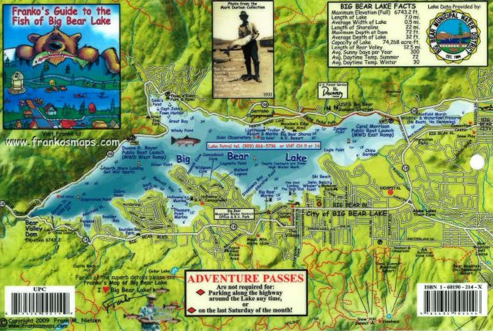 big bear lake fishing map California Fish Card Big Bear Lake 2009 By Frankos Maps Ltd big bear lake fishing map