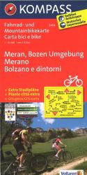 Bolzano and Merano Cycling Map by Kompass