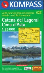 Catena dei Lagorai Cima d'Asta Hiking Map by Kompass