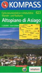 Altopiano di Asiago Hiking Map by Kompass