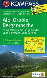 Alpi Orobie Bergamasche Hiking Map by Kompass