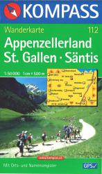 Appenzellerland St. Gallen - Santis Hiking Map by Kompass