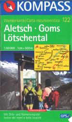 Aletsch - Goms - Lotschental Hiking Map by Kompass