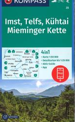 Imst-Telfs-Kuhtal Hiking Map by Kompass
