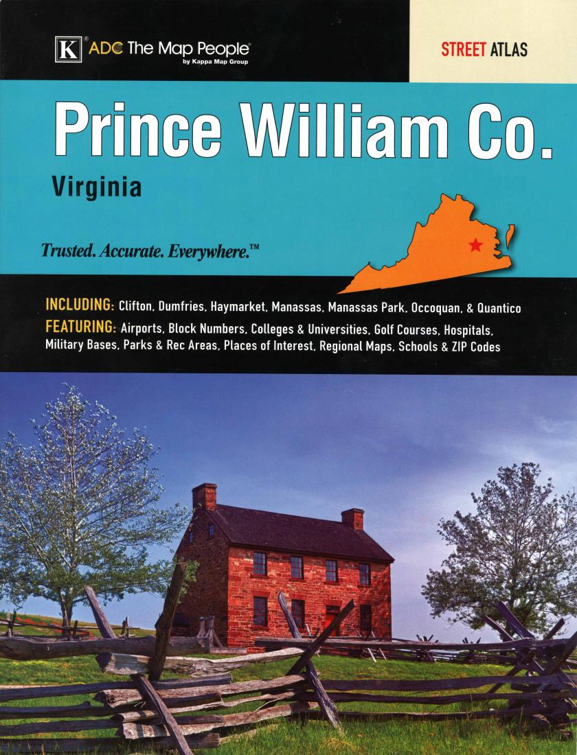 Prince William County Zip Code Map.Prince William County Virginia Atlas By Kappa Map Group
