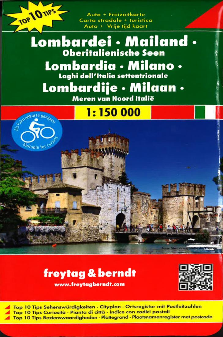 Road Map Of Italy In English.Lombardia Milan And The Upper Italian Lakes Italy Road Map By Freytag Berndt Und Artaria